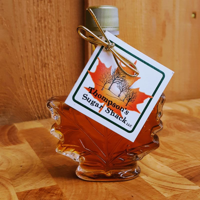 Thompsons Sugar Shack Maple Syrup Maple Leaf Glass Bottle Small
