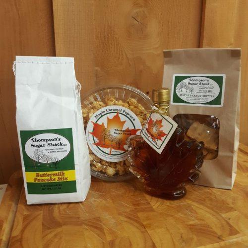 Thompsons Sugar Shack Pure Maple Syrup Pancake Mix Peanut Brittle Popcorn Combo